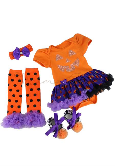 Orange Pumpkin Face Baby Halloween Tutu Dress Set