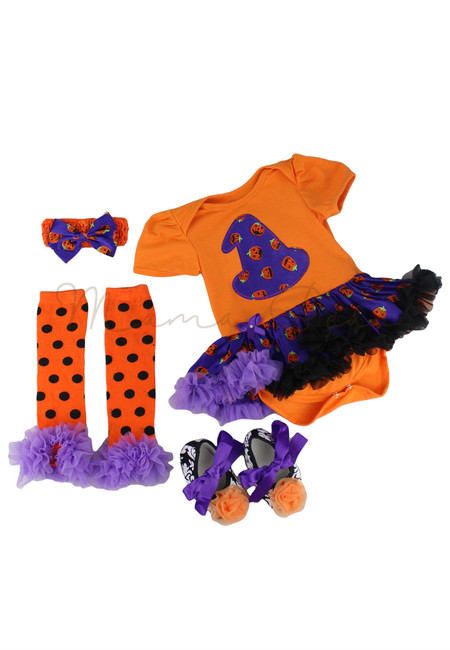 Witch Pumpkin Hat Baby Halloween Tutu Dress Set