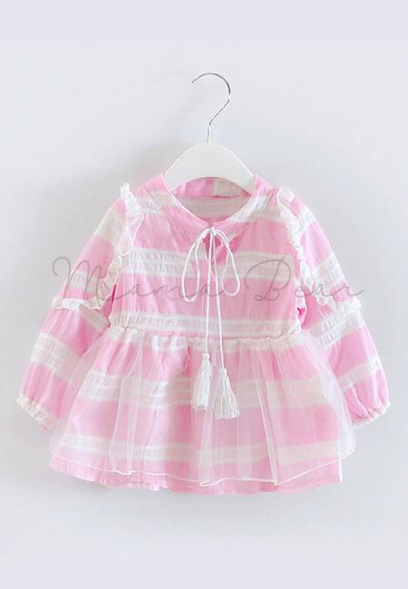 Lovely Pink Stripes Long Sleeve Dress