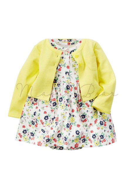 Summer Flower Design Baby Bodysuit Dress Set
