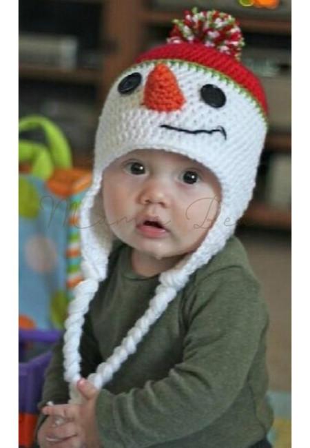 Christmas Snowman Baby Crochet Bonnet
