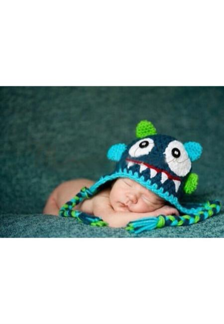 Cute Monster Baby Crochet Bonnet
