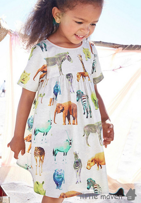 Little Maven Zoo Animal Print Kids Dress