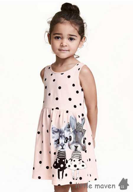 Little Maven Polka Bunny and Cat Kids Dress