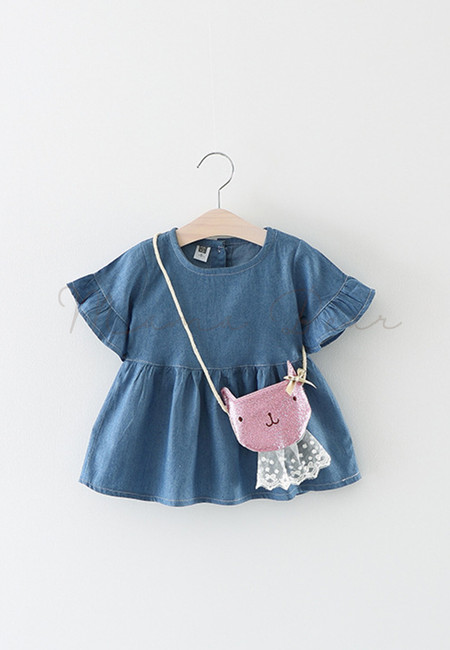 Denim Peplum Sleeve Dress With Sling Bag
