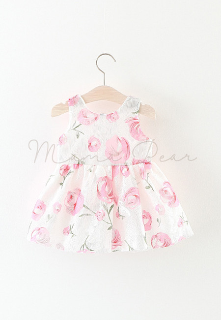 Pink Flower Ribbon Sleeveless Dress