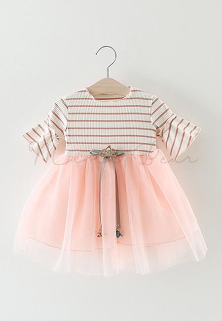 Shortsleeve Stripe Dress with Ribbon