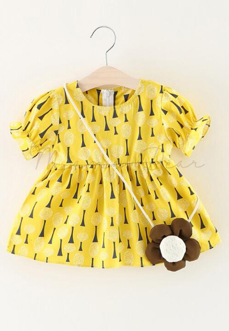 Little Tree Print Shortsleeve Dress with Sling Flower