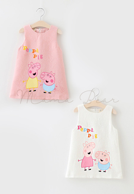 Peppa Pig Print Sleeveless Dress