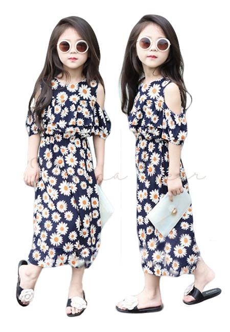 Semi Off Shoulder Daisy Print Dress