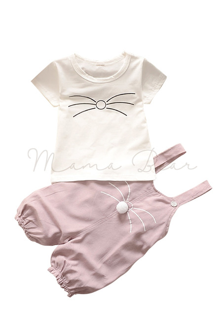 Whiskers Pattern Top and Jumper Clothing Set