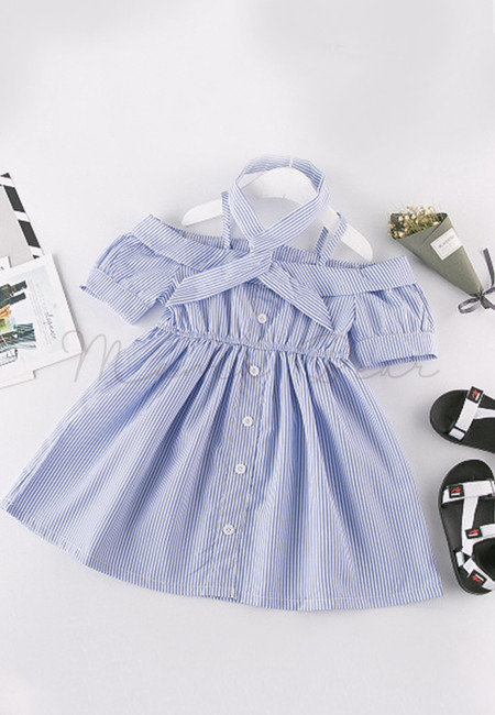 Semi Off Shoulder Button Stripes Dress with Hairband
