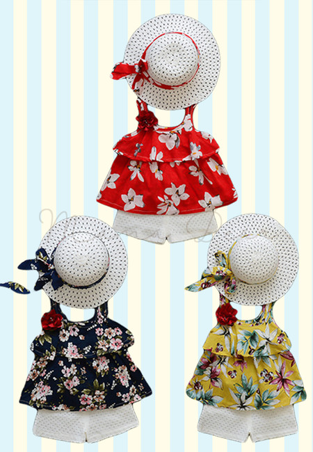 Summer Floral Print Clothing Set with Hat