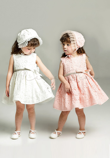 Floral Lace Pattern with Hat Ball Gown Party Dress (3M-24M)