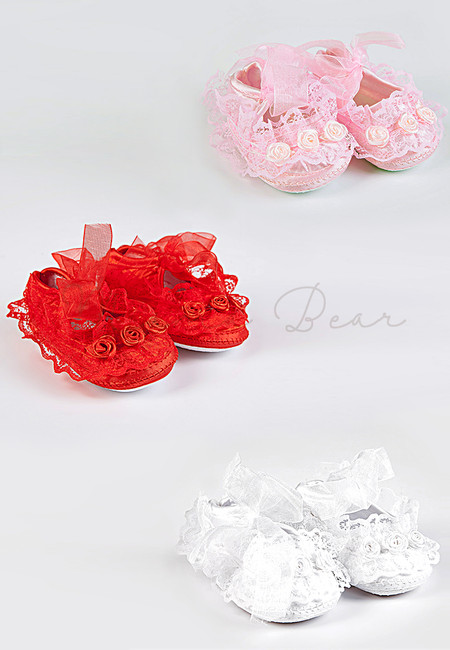 Floral Lace Mesh Baby Baptismal Shoes