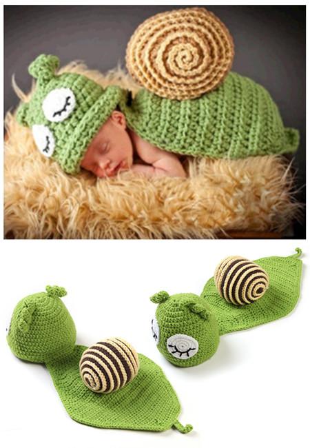 Sleeping Snail Knitted Crochet Baby Costume Set