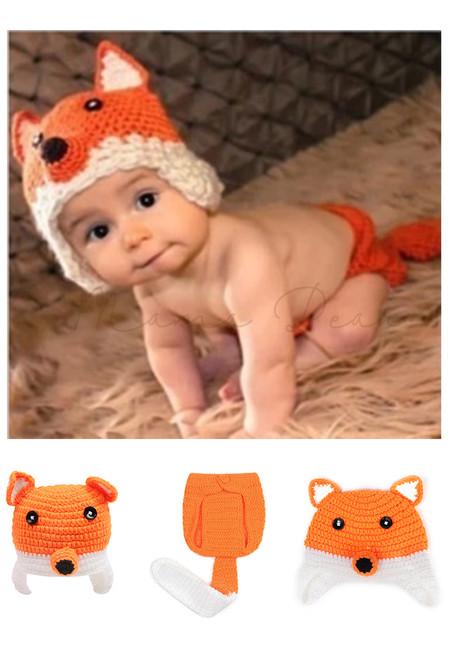 Little Fox Knitted Crochet Baby Costume Set