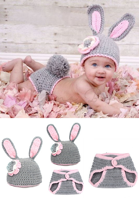 Bunny Rabbit Knitted Crochet Baby Costume Set
