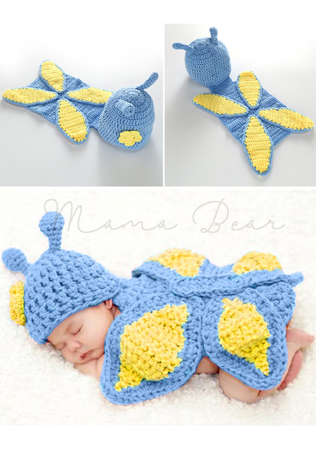 Knitted Crochet Baby Butterfly Costume Set