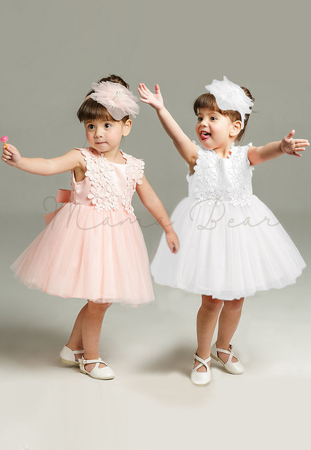 Floral Pattern with Ribbon Ball Gown Party Dress (3M-24M)