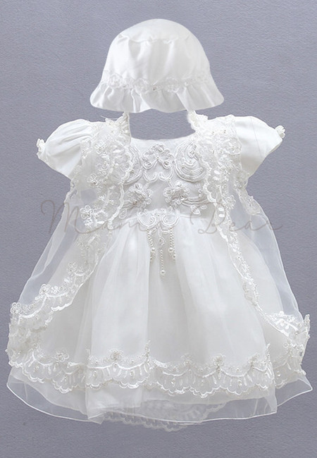 Floral Pattern Shortsleeve with Hat and Cardigan Ball Gown Party Baptismal Dress (3M-12M)