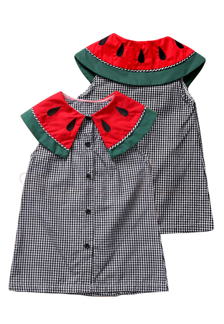 Watermelon Collar Stripe Kids Dress