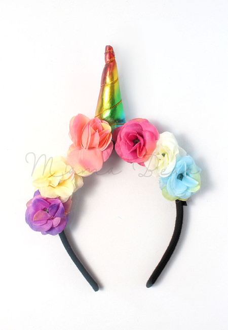 Unicorn Horn Metallic Floral Kids Headband