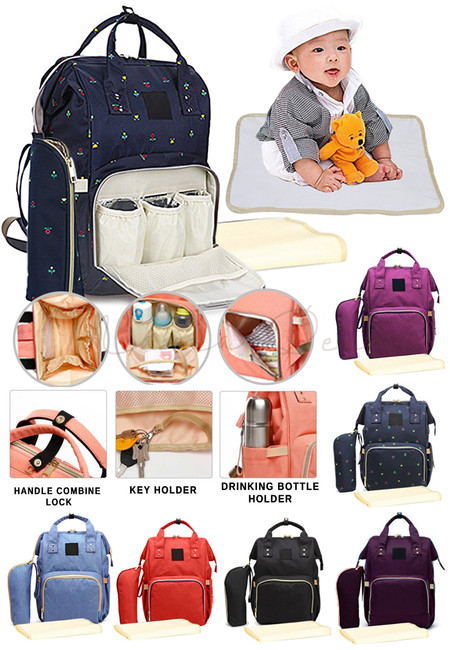 Large Diaper Bag Nappy Mommy Backpack With Mat And Pouch