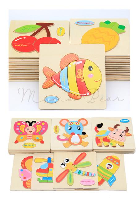 Kids Wooden Blocks Animal Puzzel Educational Toy Baby Toddler