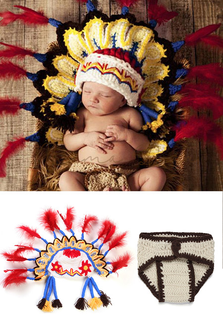 Baby Crochet Feather Headdress Chief Hat Baby Woolen Underwear Suit