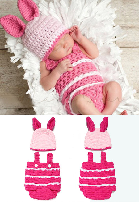 Pink Pig Animal Baby Crochet Costume Cosplay Baby Photography Costume