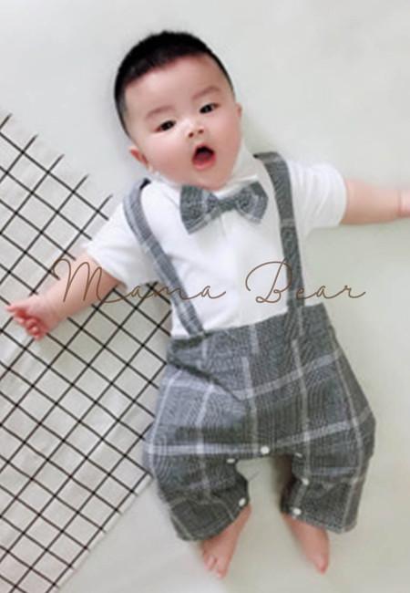 Baby Boy Suspender Romper with Bow Tie