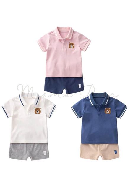 Baby Boy Casual Polo Shirt and Shorts Set