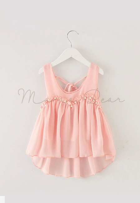 Adorable Sleeveless Kids Dress With Pearl