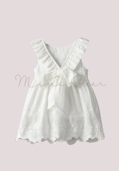 Simple Frilly White Kids Dress