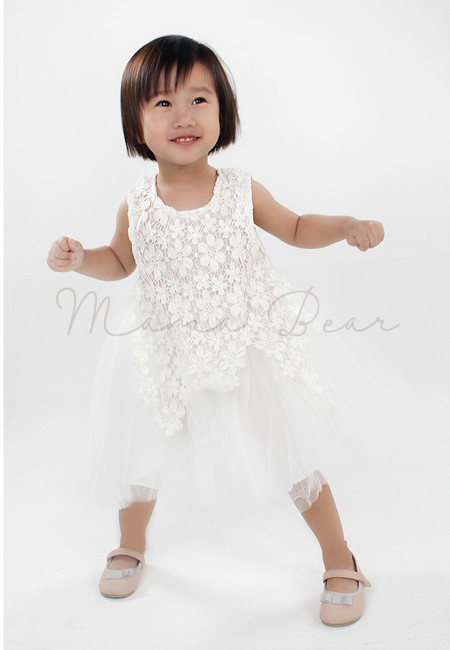 White Flower Lace Patterned Party Dress