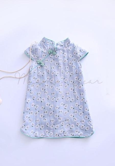 Elegant Sunflower Print Short Sleeve Kids Dress