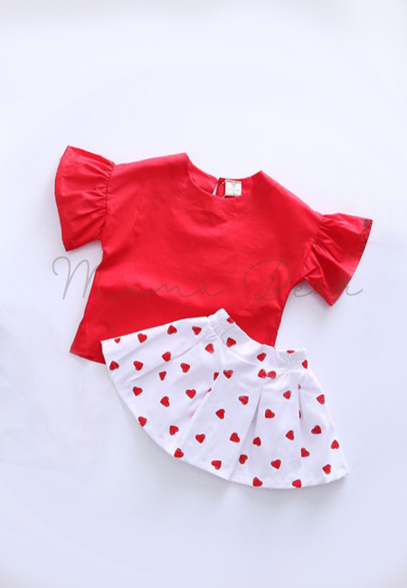 Simple Eyelet Top And Heart Print Skirt Kids Set