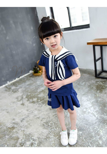 Sailor Uniform Design Kids Top and Skirt Set