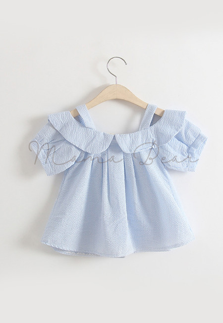 Fancy Shortsleeve Kids Dress With Collar