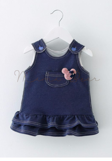 Little Pocket Ruffle Sleeveless Kids Dress