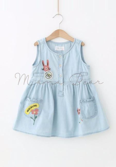 Random Patched Denim Kids Dress