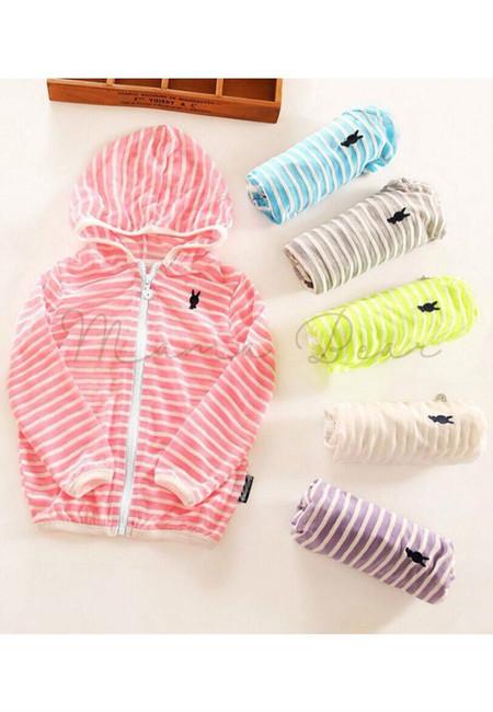 Unisex Stripes Kids UV Protect Thin Hoodie Jacket Cardigan