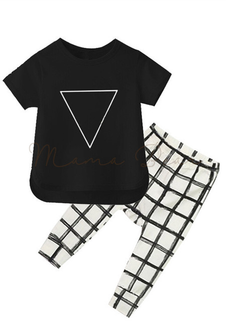 Triangle Top With Checkered Harem Pants Kids Clothing Set