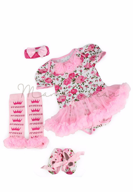 Princess Floral Baby Tutu Set