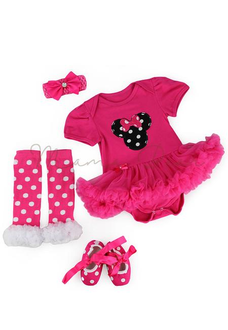 Rosepink Polka Minnie Baby Tutu Set