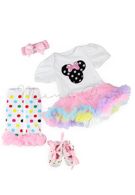 Minnie Polka Cotton Candy Color Baby Tutu Set