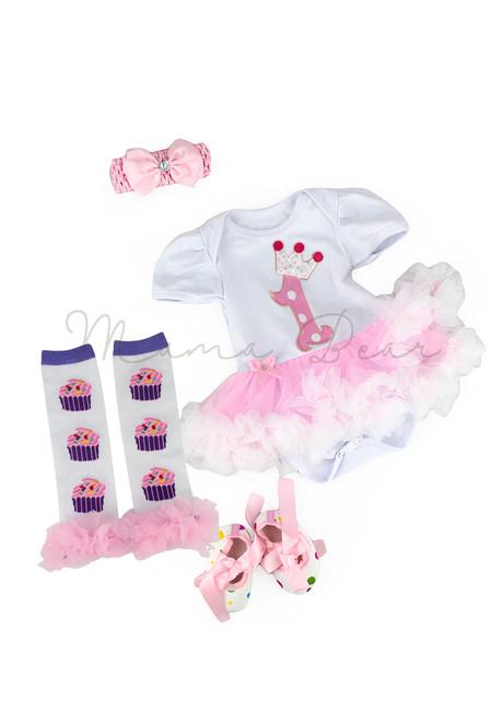 Number 1 Cupcake Baby Tutu Set