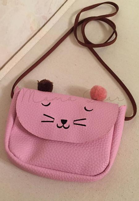 Cute Cat Face Kids Sling Bag
