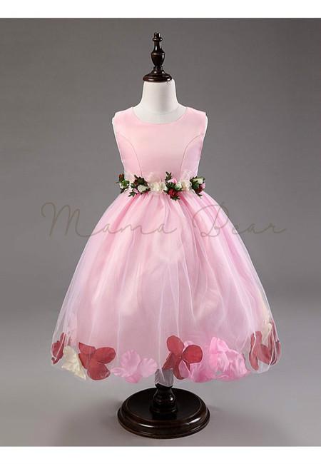 Little Princess Sleeveless 3D Flower Ball Gown Dress